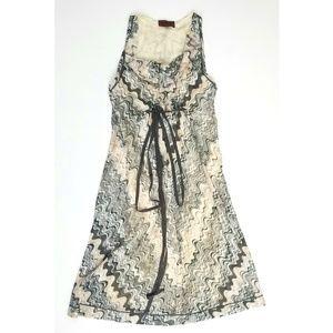 Missoni Brown Beige Front Tie Midi Dress Size 38/S